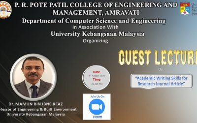 """Guest Lecture on """"Academic Writing Skills for Research Journal Article"""" By DrMamum Bin Reaz Professor of Engineering & Built Environment  University Kebangsan Malaysia."""