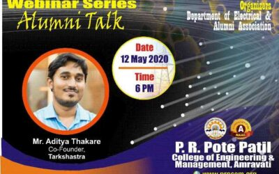 """Webinar on """"Opportunities after post-graduation and how to prepare for post-graduation entrance examinations"""" by Alumni Mr. Aditya Thakare"""