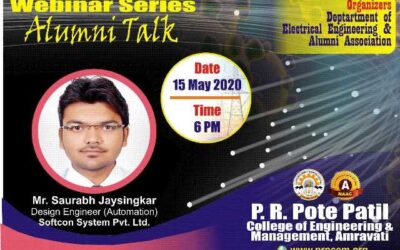 """Webinar on """"Opportunities in Automation Industries after Pandemic"""" by Alumni Mr. Saurabh Jaysingkar"""