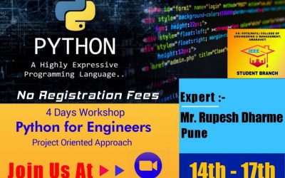 """Four Days Workshop on """"Python for Engineers-Project Oriented Approach"""""""