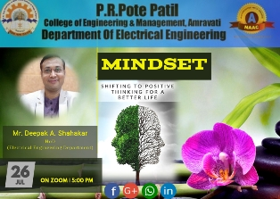 Live session of Mr. Deepak Shahakar on Shifting to Positive thinking for better future 26th July 2020