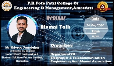 Alumni talk sharing his own experience & guiding the students for Career opportunities in embedded engg.