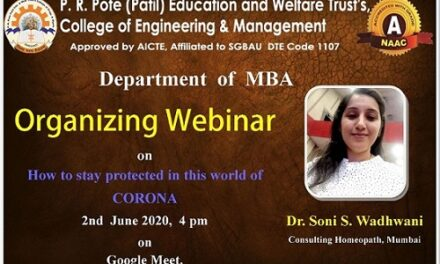 """Webinar on """"How to stay protected in this world of CORONA"""" by Dr. Soni Wadhwani (Mumbai)"""