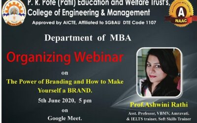 """Webinar on """"The power of Branding and how to make yourself a BRAND."""" by Prof. Ashwini Rathi"""