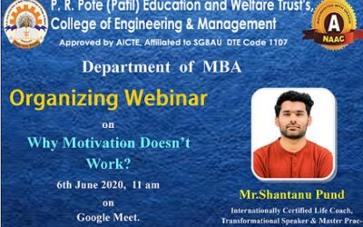"""Webinar on """"Why Motivation Doesn't Work?"""" by Mr. Shantanu Pund"""