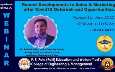 """Webinar on """"Recent Developments in Sales & Marketing after Covid19 Outbreak and Opportunities"""" by Alumni Mr. Mayur Joshi"""