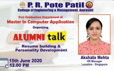Alumni Talk By Akshata Mehata