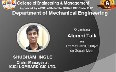 An online alumni talk for the students of Mechanical Engineering Department was held on 17th May 2020, through Google Meet at 5pm..
