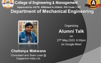 An online alumni talk for the students of Mechanical Engineering Department was held on 27th May 2020, through Google Meet at 6pm.