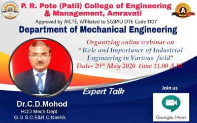 """Webinar on """"Role and Importance of Industrial Engineering in Various fields"""""""