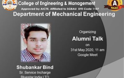 An online alumni talk for the students of Mechanical Engineering Department was held on 31st May 2020, through Google Meet at 11am.