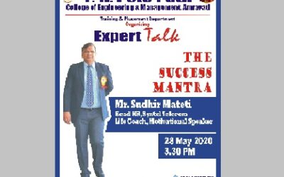 P. R. Pote Patil Group of Educational Institutes, Amravati's T&P Department is organizing Expert TALK, The Success Mantra By Mr. Sudhir Mateti, Head HR, Syntel Telecom on 28th May 2020 at 3.30 PM