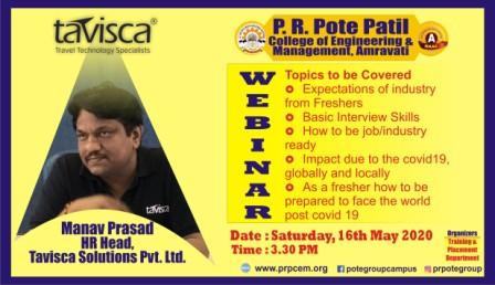 """Expert Talk on """"Expectation of industry from Fresher"""" by Mr. Manav Prasad, HR Head, Tavisca Solutions Pvt. Ltd. Was organized for all students of Engineering, MCA and MBA"""