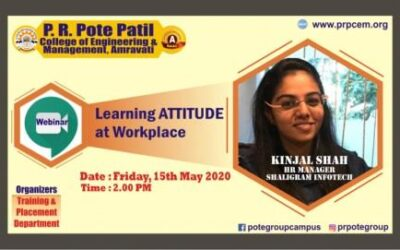 "Webinar on ""Learning ATTITIDE at workplace"" by Ms. Kinjal Shah, HR Manager, Shaligram Infotech was organized for all students of Engineering, MCA, MBA."