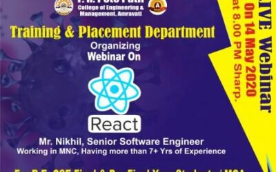 One day Webinar Workshop : By Mr. Nikhil on React JS was organized for all B.E. Computer Science pre-final and MCA students.