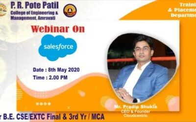 "Webinar on ""Journey to Salesforce"" was organised for all pre-final year students. Eminent Speaker : Mr. Pradip Shukla, CEO and Founder, Cloudcentric"